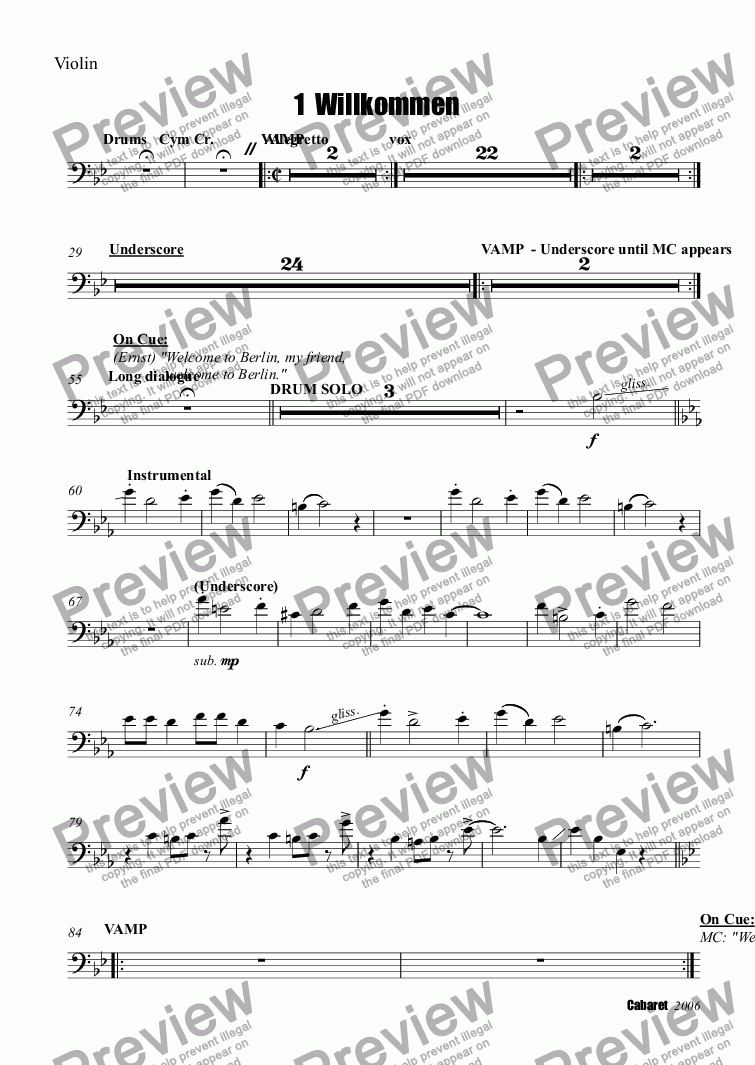 page one of the Trombone part from 1  Willkommen