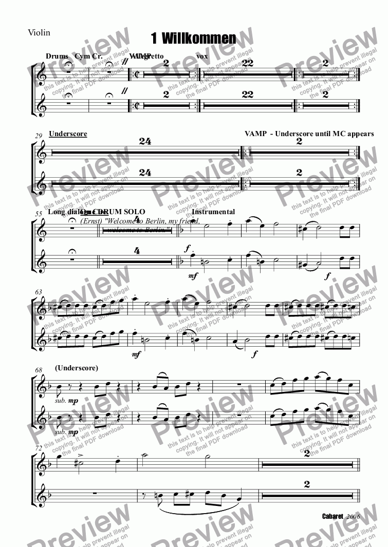 page one of the Trumpet 1, Trumpet 2 part from 1  Willkommen