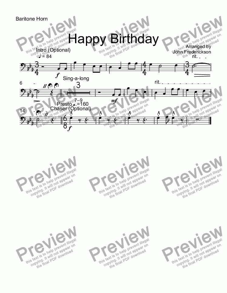 page one of the Baritone Horn part from Happy Birthday