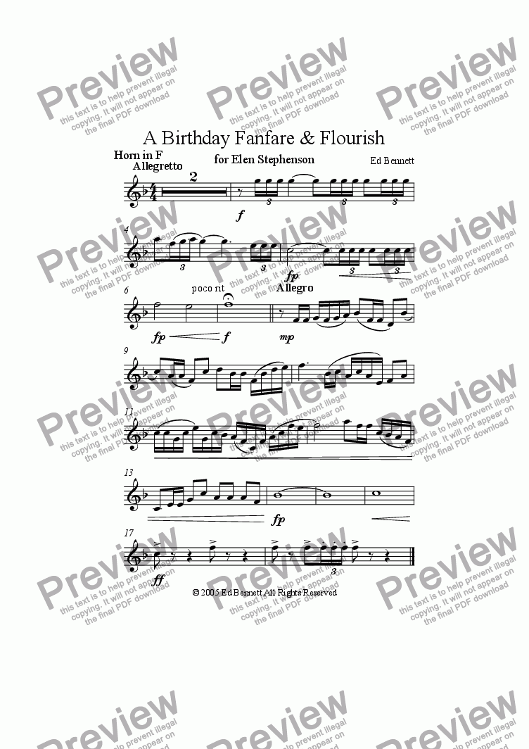 page one of the Horn in F part from A Birthday Fanfare and Flourish