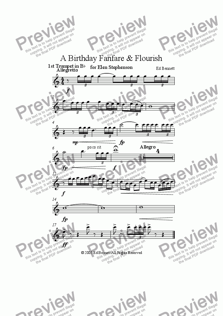 page one of the Trumpet 1 part from A Birthday Fanfare and Flourish