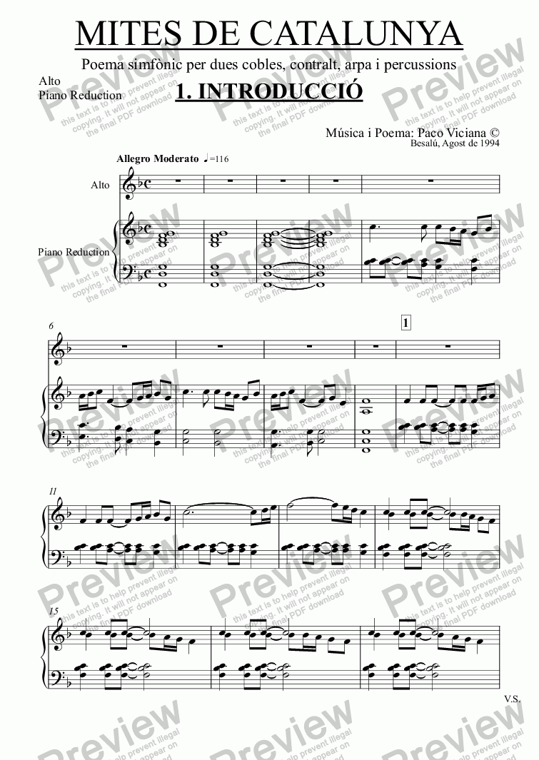 page one of the Alto, Piano Reduction part from 061-Mites de Catalunya (01-Introducció)
