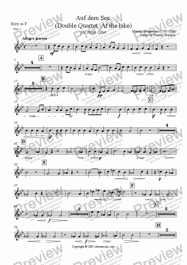 page one of the 2. Horn in F, Choir 1: Auf dem See part from Auf dem See (double quartet: at the lake) for Brass Octet