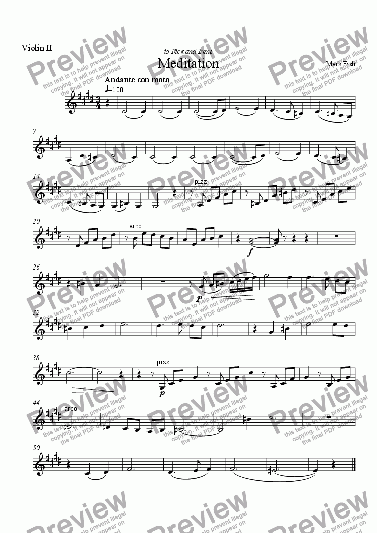 page one of the Violin II part from Meditation