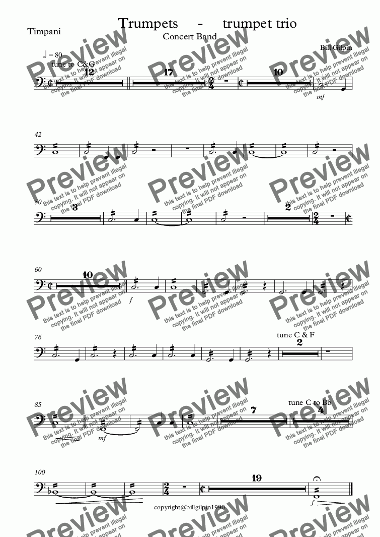 page one of the Timpani part from Trumpets     -     trumpet trio