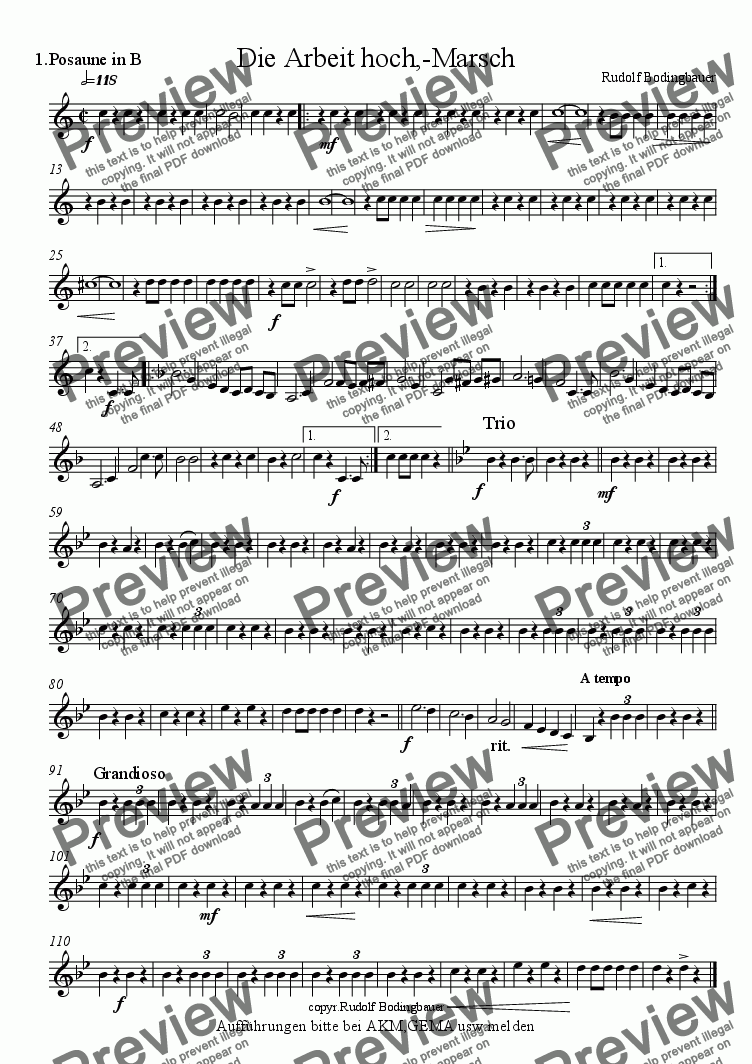 page one of the 1.Posaune in B part from Die Arbeit hoch, Marsch