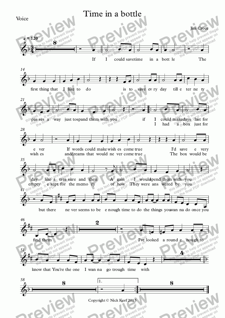 page one of the Voice part from Time in a bottle