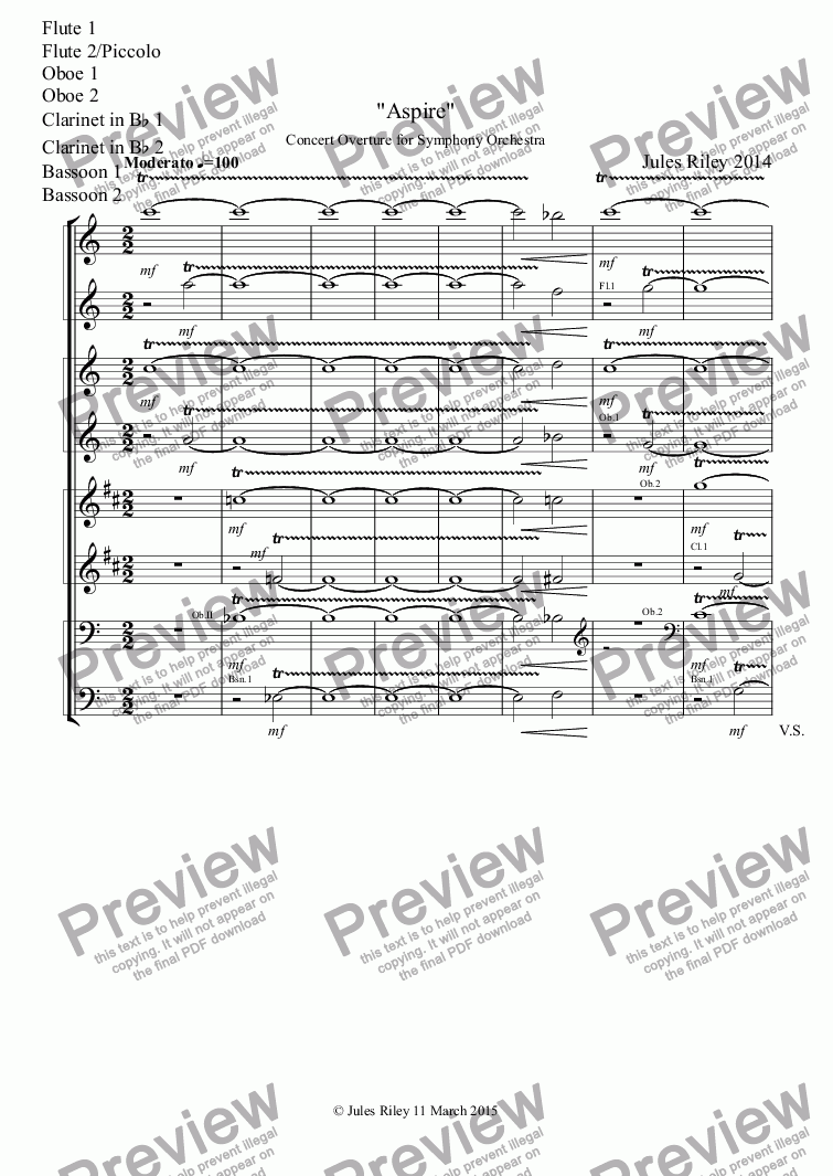 "page one of the Flute 1, Flute 2/Piccolo, Oboe 1, Oboe 2, Clarinet in B^b 1, Clarinet in B^b 2, Bassoon 1, Bassoon 2 part from Concert Overture: ""Aspire"" for Orchestra [2014]"