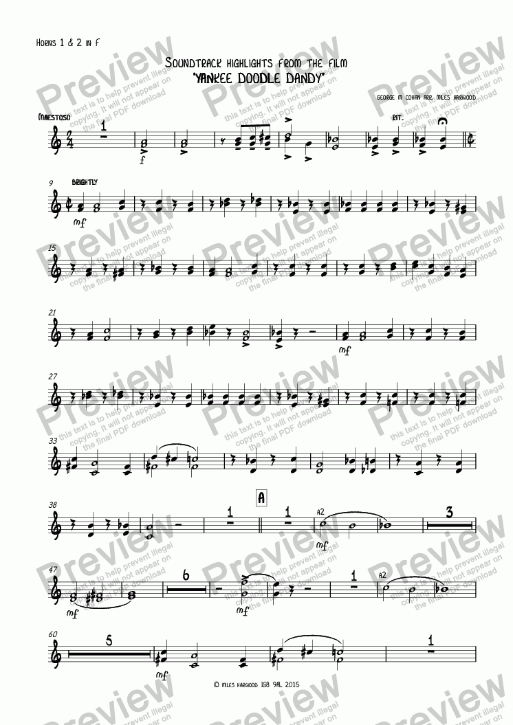 page one of the Horns 1 & 2 in F part from Soundtrack highlights from the film  'Yankee Doodle Dandy'