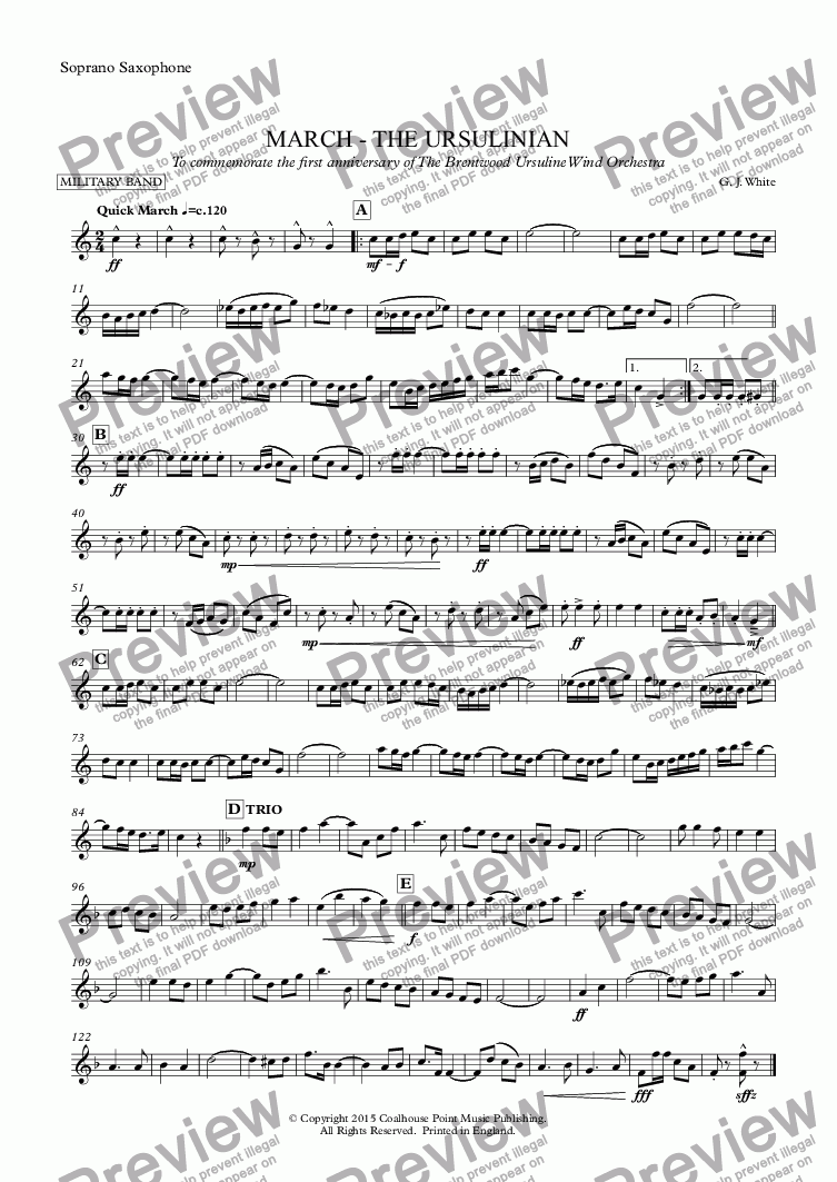 page one of the Soprano Saxophone part from March: The Ursulinian (Concert Band)