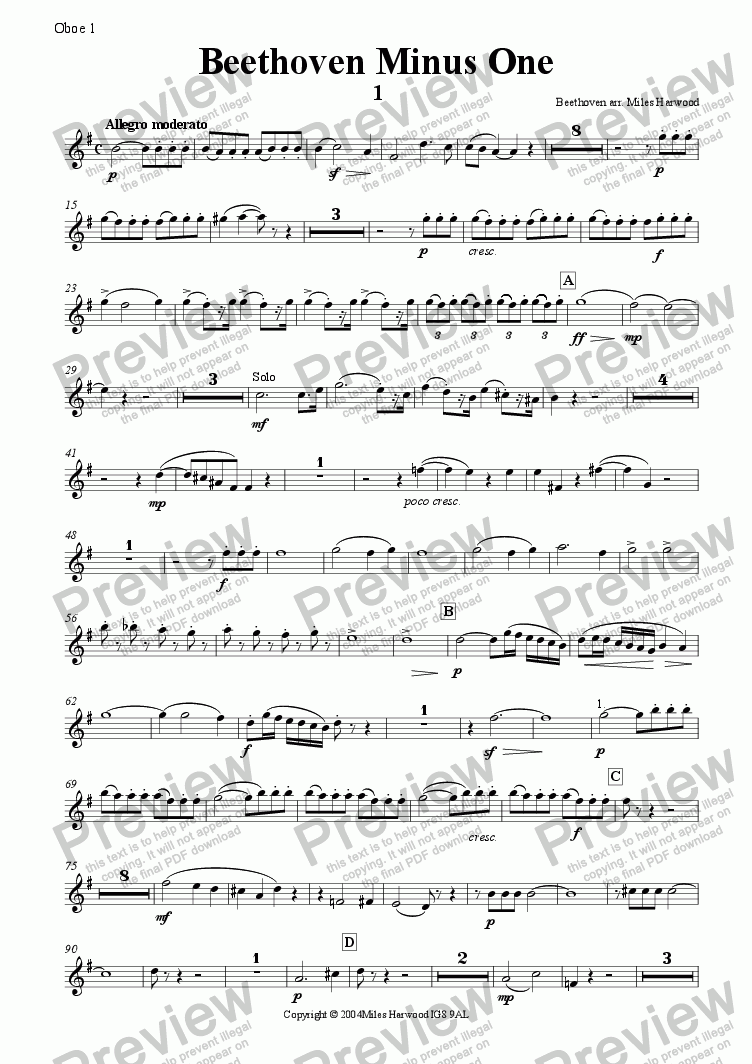 page one of the Oboe 1 part from Beethoven Minus One