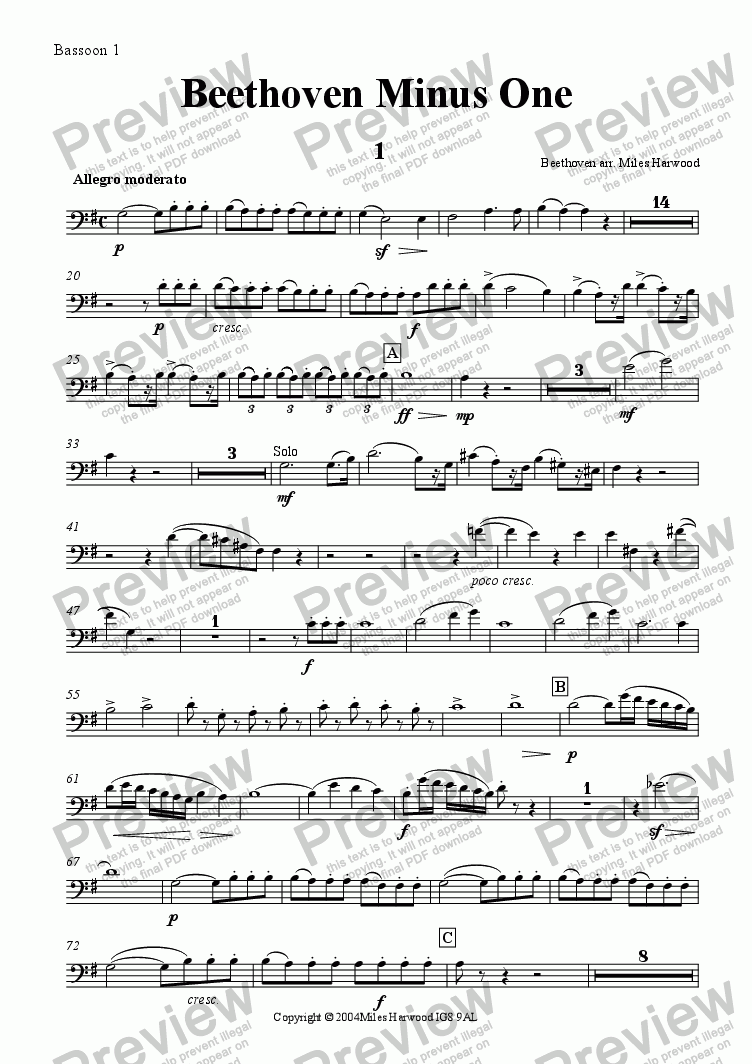 page one of the  Bassoon 1 part from Beethoven Minus One