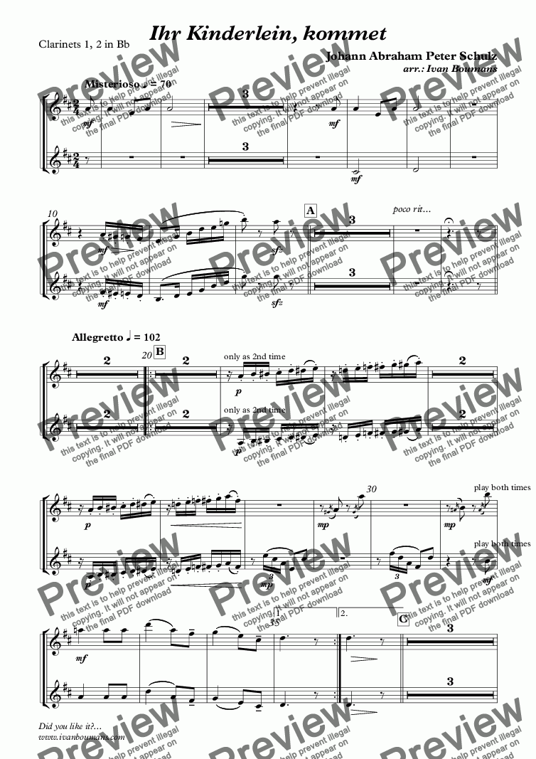 page one of the Clarinets 1, 2 in Bb part from Ihr Kinderlein, kommet