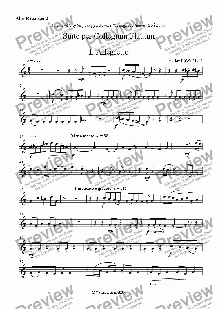 page one of the Alto Recorder 2 part from Suite per Collegium Flautini