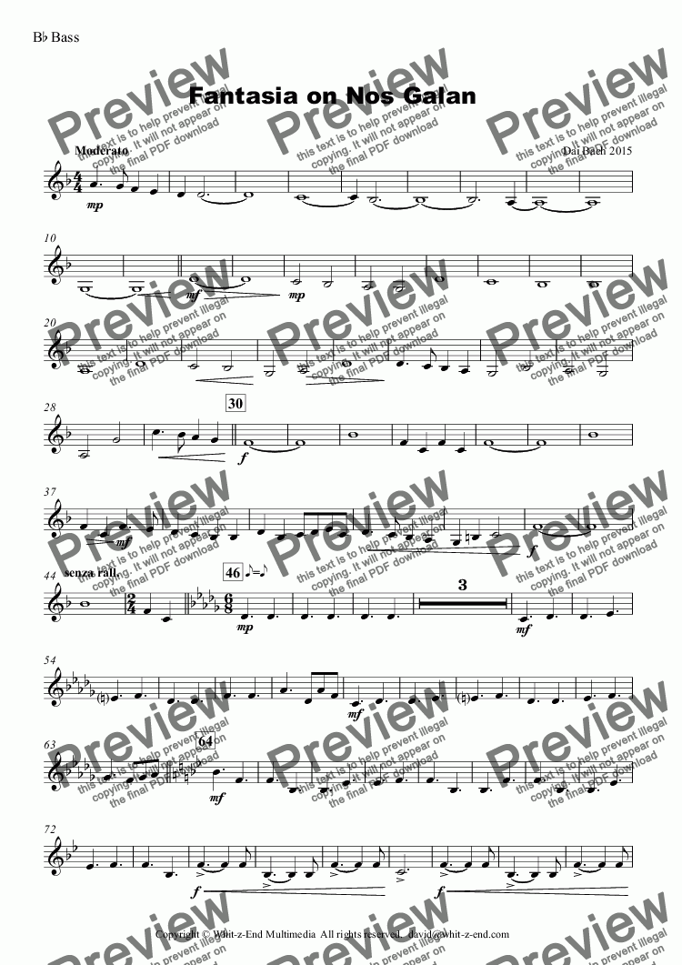 page one of the B^b Bass part from Fantasia on Nos Galan