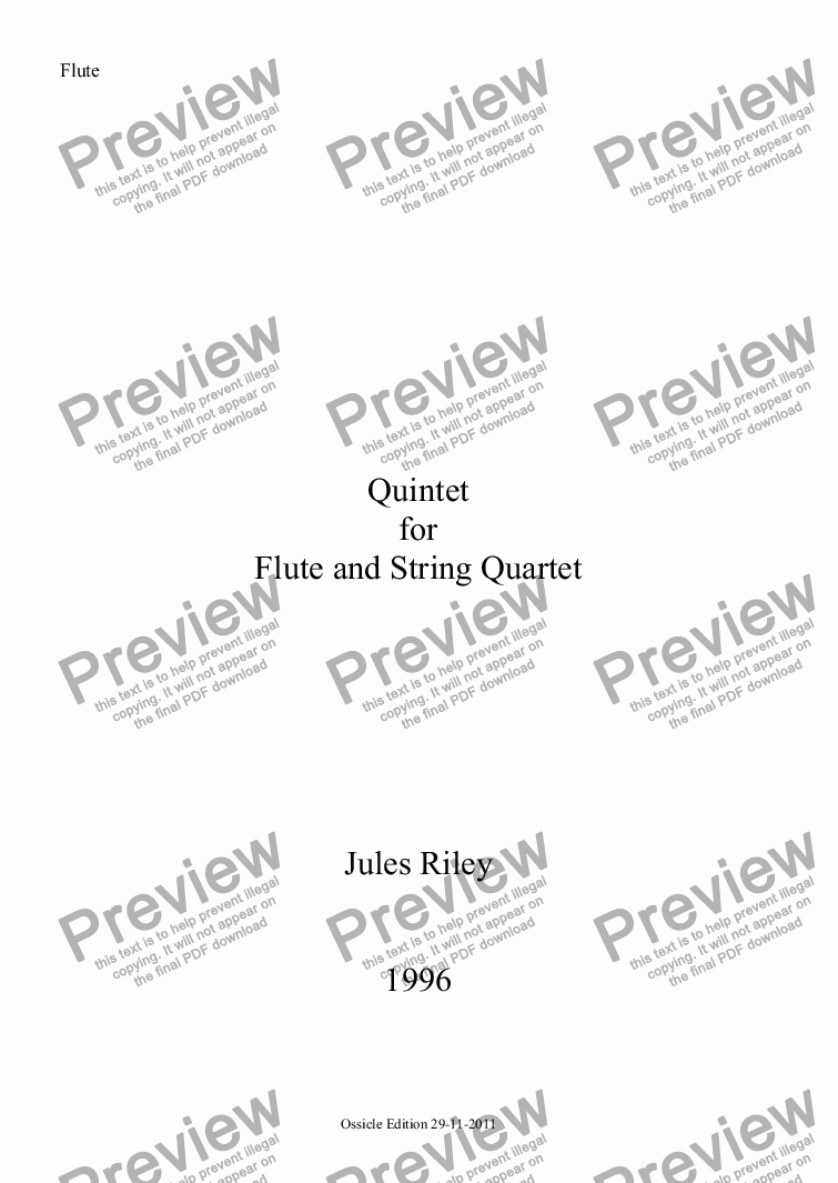 page one of the Flute part from Quintet for Flute and String Quartet [1996]