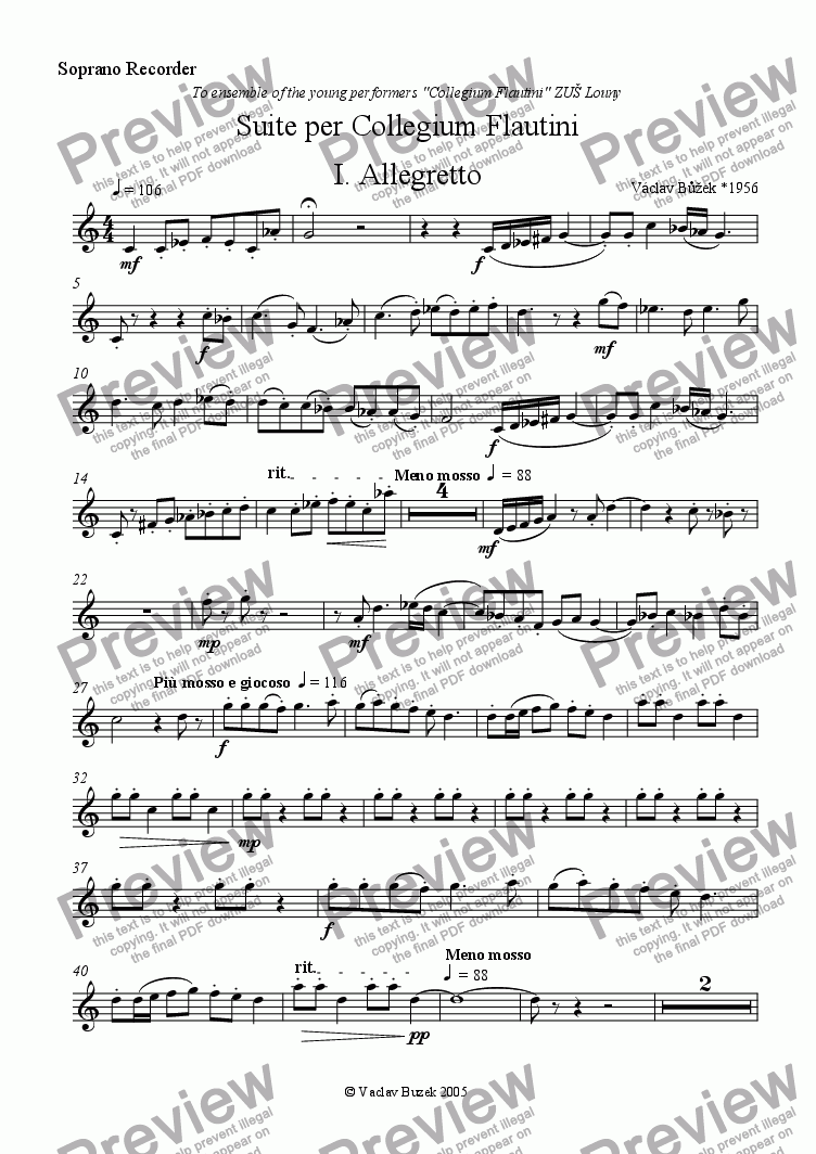 page one of the Soprano Recorder part from Suite per Collegium Flautini