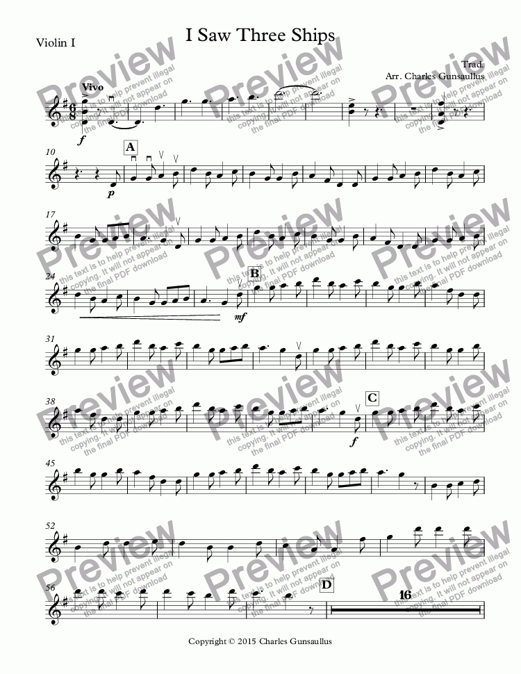 page one of the Violin I part from I Saw Three Ships