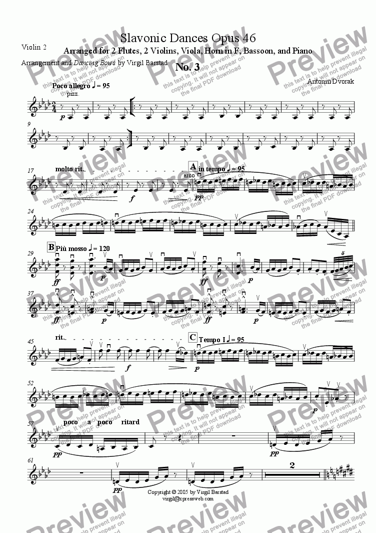 page one of the Violin 2 part from Slavonic Dances Op 46 - 3