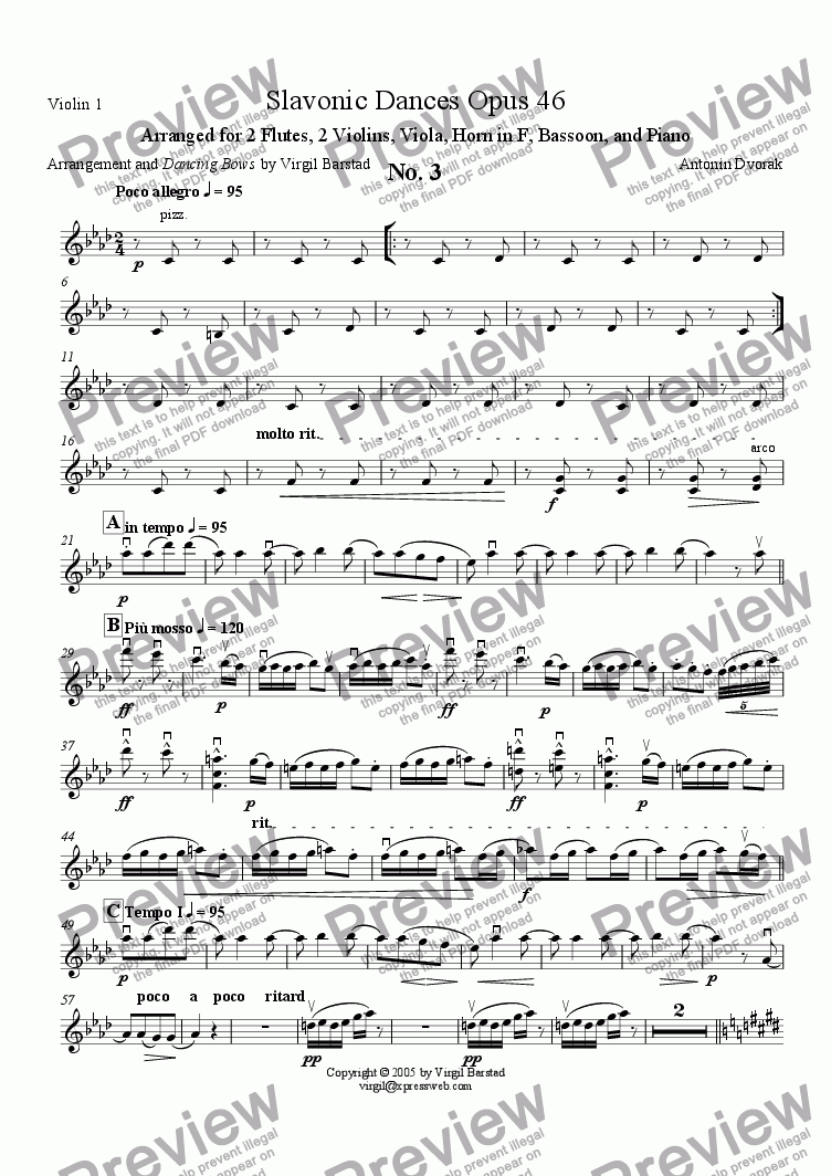 page one of the Violin 1 part from Slavonic Dances Op 46 - 3