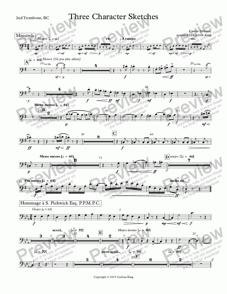 page one of the Trombone 2, BC part from Three Character Sketches