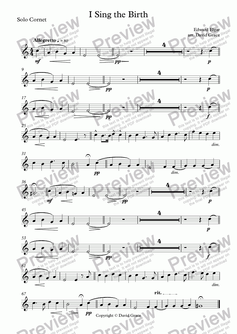 page one of the Solo Cornet part from I Sing the Birth [Elgar]