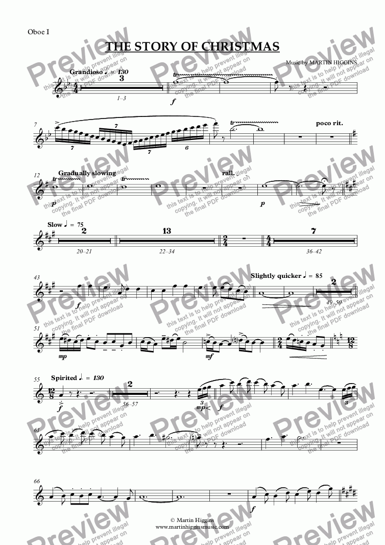 page one of the Oboe I part from Christmas Suite - 'The Story of Christmas'