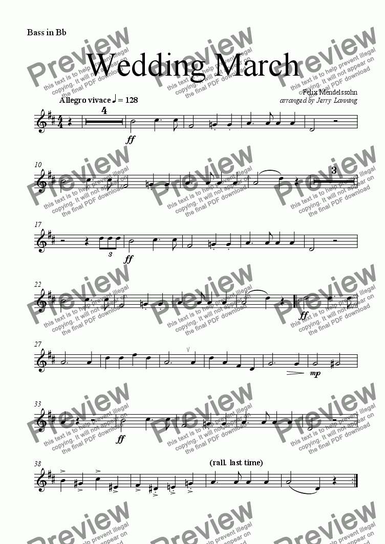page one of the Bass in Bb part from Wedding March (brass quintet)