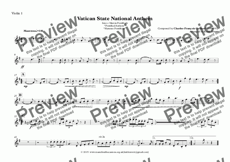 "page one of the Violin 1 part from Vatican State National Anthem (Inno e Marcia Pontificale ""Pontifical Anthem""  ""Hymnus Pontificius"") for String Orchestra"