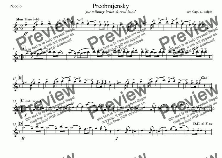 page one of the Piccolo part from Preobrajensky