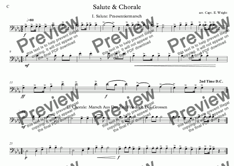 page one of the C part from German Salute & Chorale
