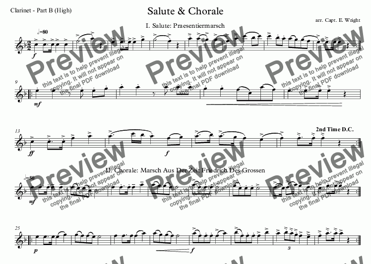 page one of the Clarinet - Part B (High) part from German Salute & Chorale