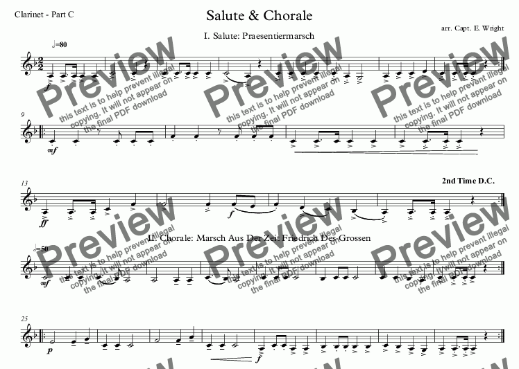 page one of the Clarinet - Part C part from German Salute & Chorale