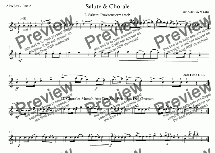 page one of the Alto Sax - Part A part from German Salute & Chorale