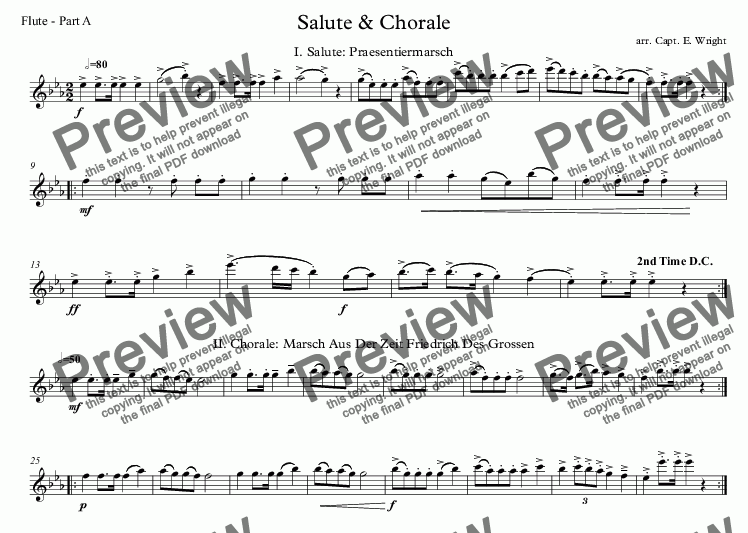 page one of the Flute - Part A part from German Salute & Chorale