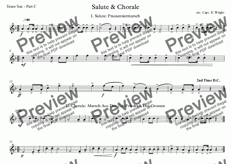 page one of the Tenor Sax - Part C part from German Salute & Chorale