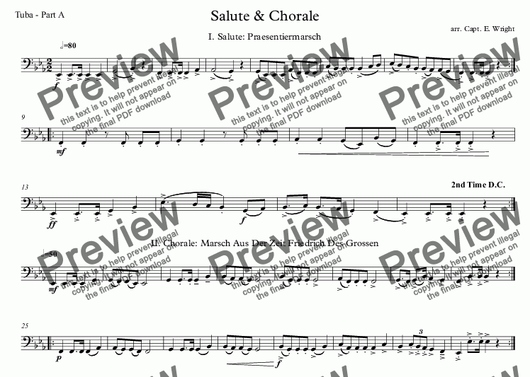 page one of the Tuba - Part A part from German Salute & Chorale