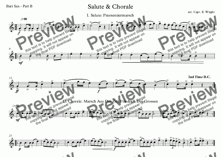 page one of the Bari Sax - Part B part from German Salute & Chorale