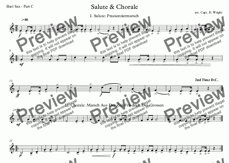 page one of the Bari Sax - Part C part from German Salute & Chorale