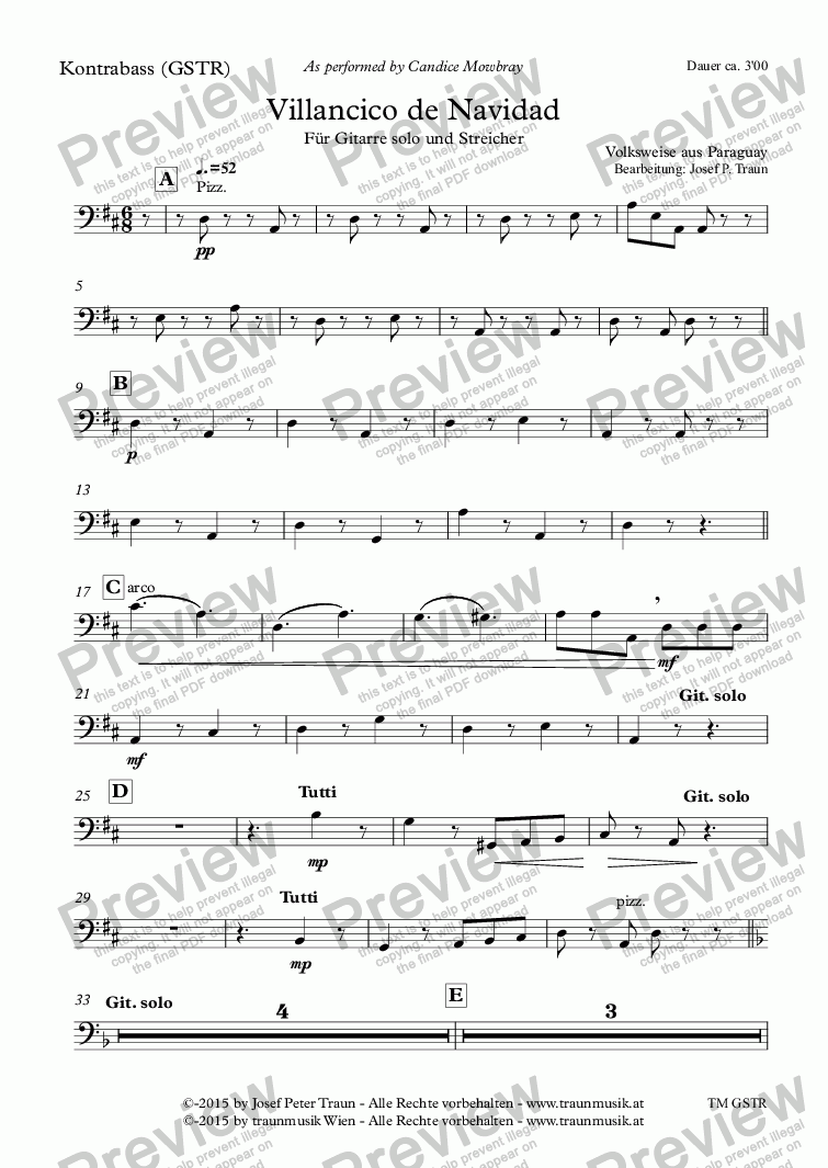 page one of the Kontrabass (GSTR) part from Villancico de Navidad (GSTR/Score & Parts)