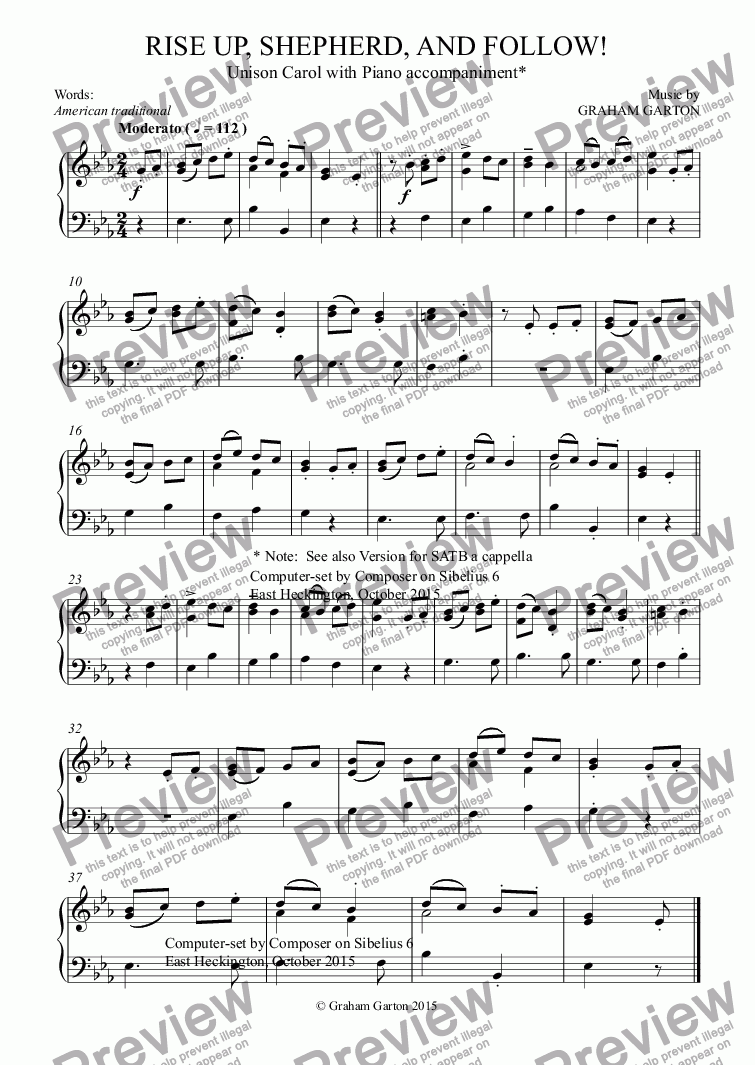 page one of the Piano part from CAROL - 'RISE UP, SHEPHERD, AND FOLLOW!'  Unison Carol with Piano accompaniment. Words: American traditional.
