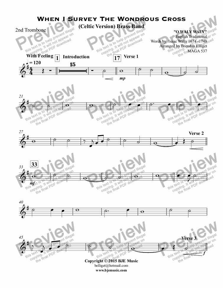 page one of the 2nd Trombone part from When I Survey The Wondrous Cross (Celtic Version) Brass Band