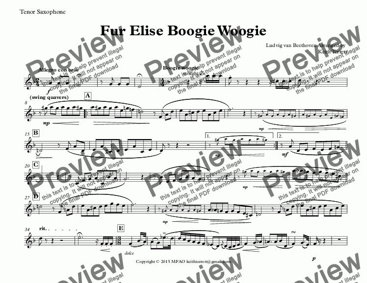 page one of the Tenor Saxophone part from Für Elise Boogie Woogie for Bb Tenor Saxophone & Piano (Keith Terrett Jazz for Wind Series)