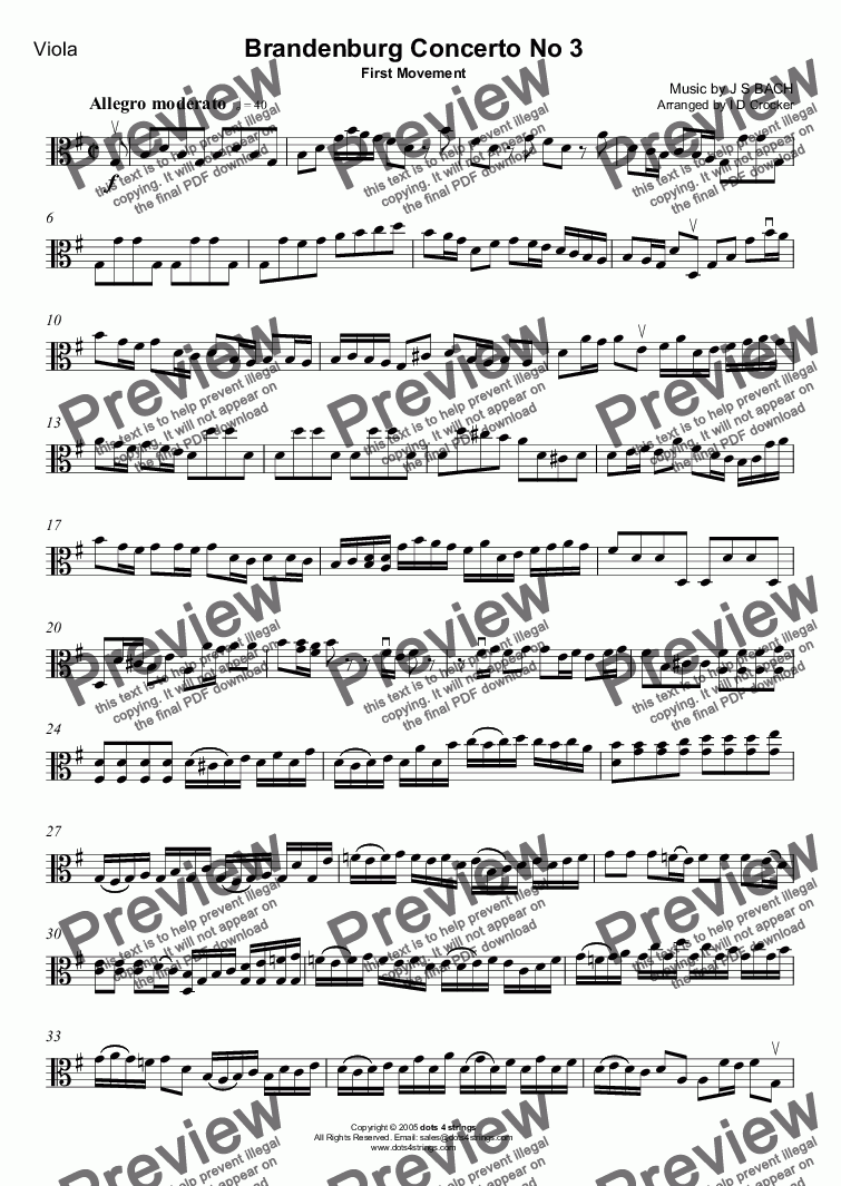 page one of the Viola part from Brandenburg Concerto No. 3