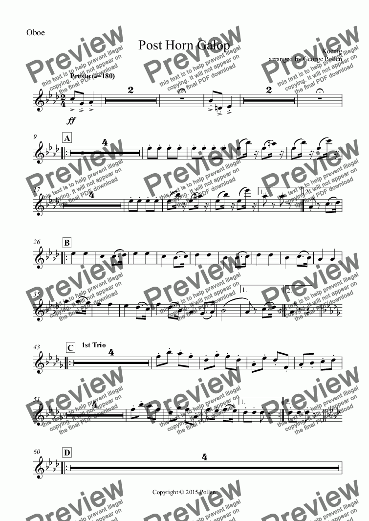 page one of the Oboe part from Post Horn Galop (For Post Horn and Concert Band)