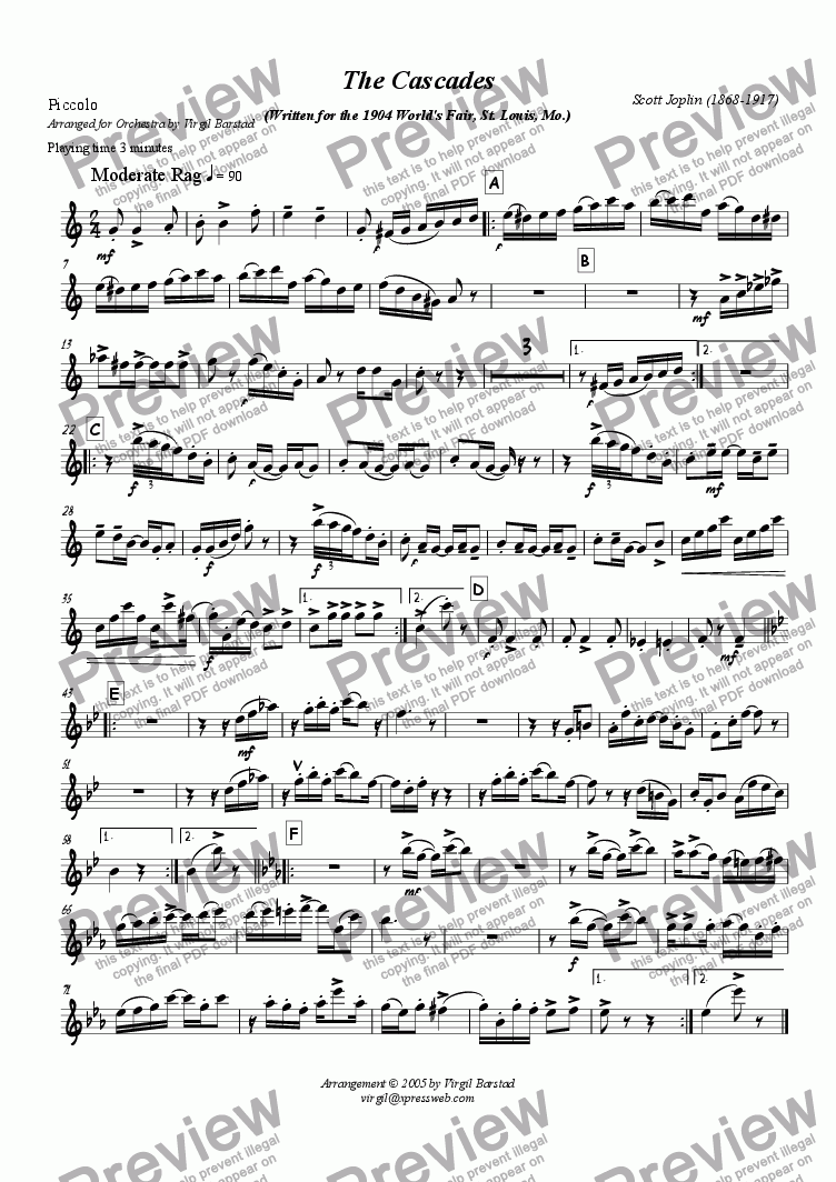 page one of the Piccolo part from The Cascades - for Orchestra