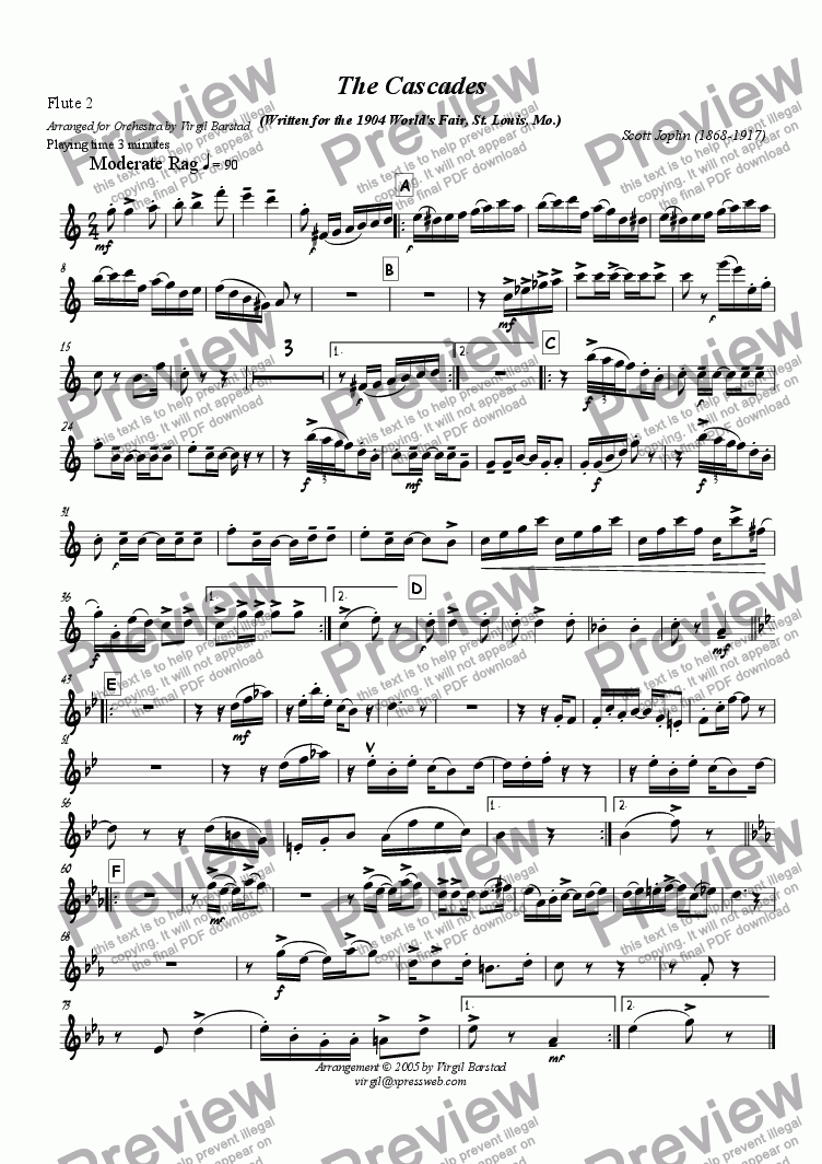 page one of the Flute 2 part from The Cascades - for Orchestra
