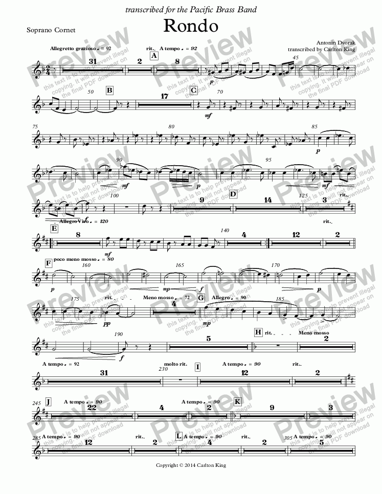 page one of the Soprano Cornet part from Rondo