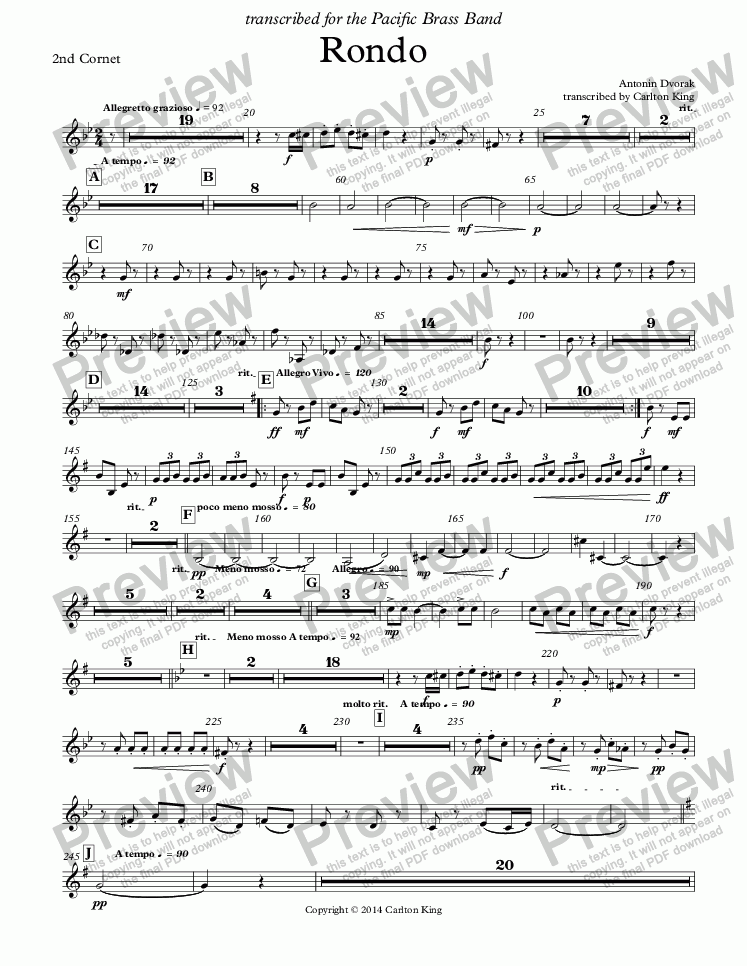 page one of the 2nd Cornet part from Rondo