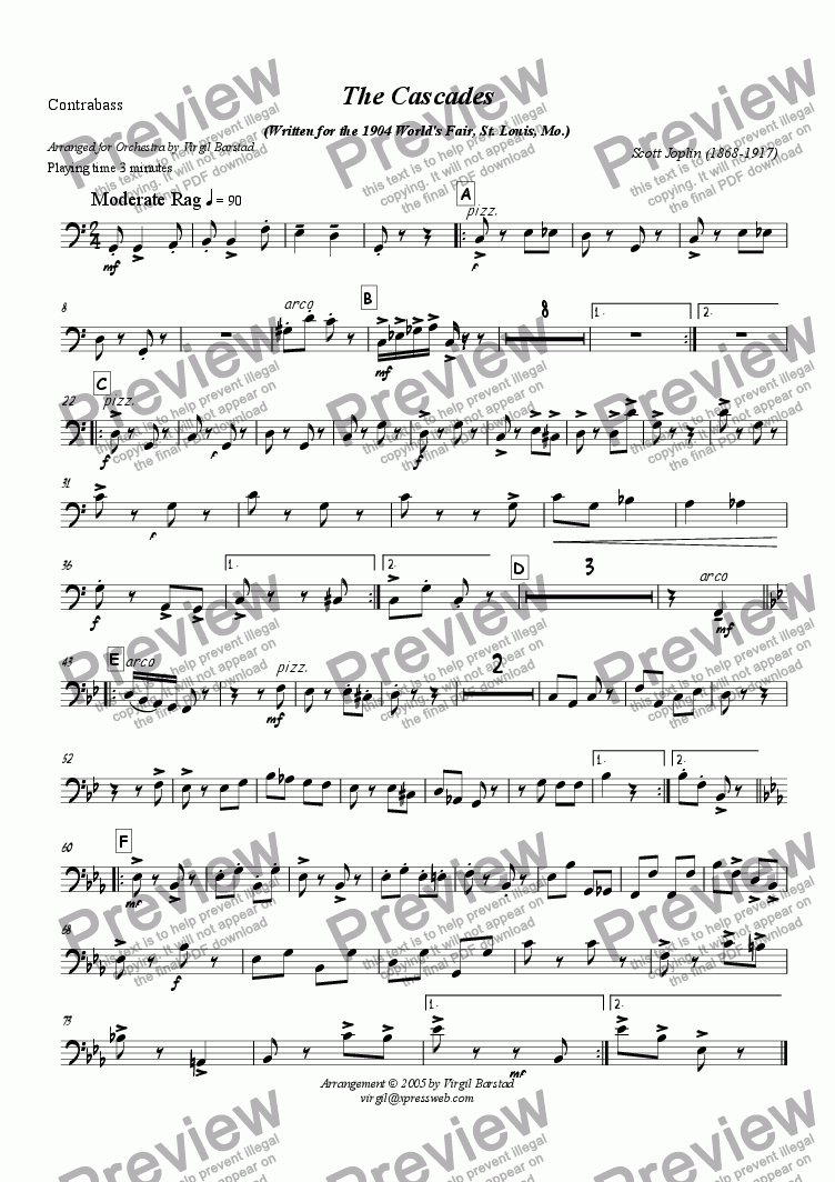 page one of the Contrabass part from The Cascades - for Orchestra